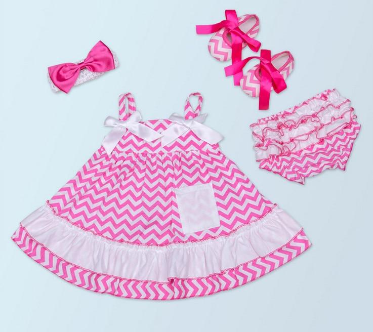 Vakker baby jente Chevron topp tutu skjørt + Cotton Ruffle Bloomers - Baby klær