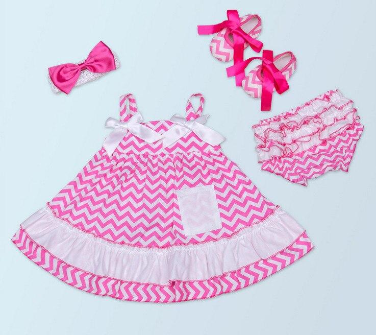 Lepa otroška punčka Chevron top krilo + bombažne ruffle Bloomers + - Oblačila za dojenčke