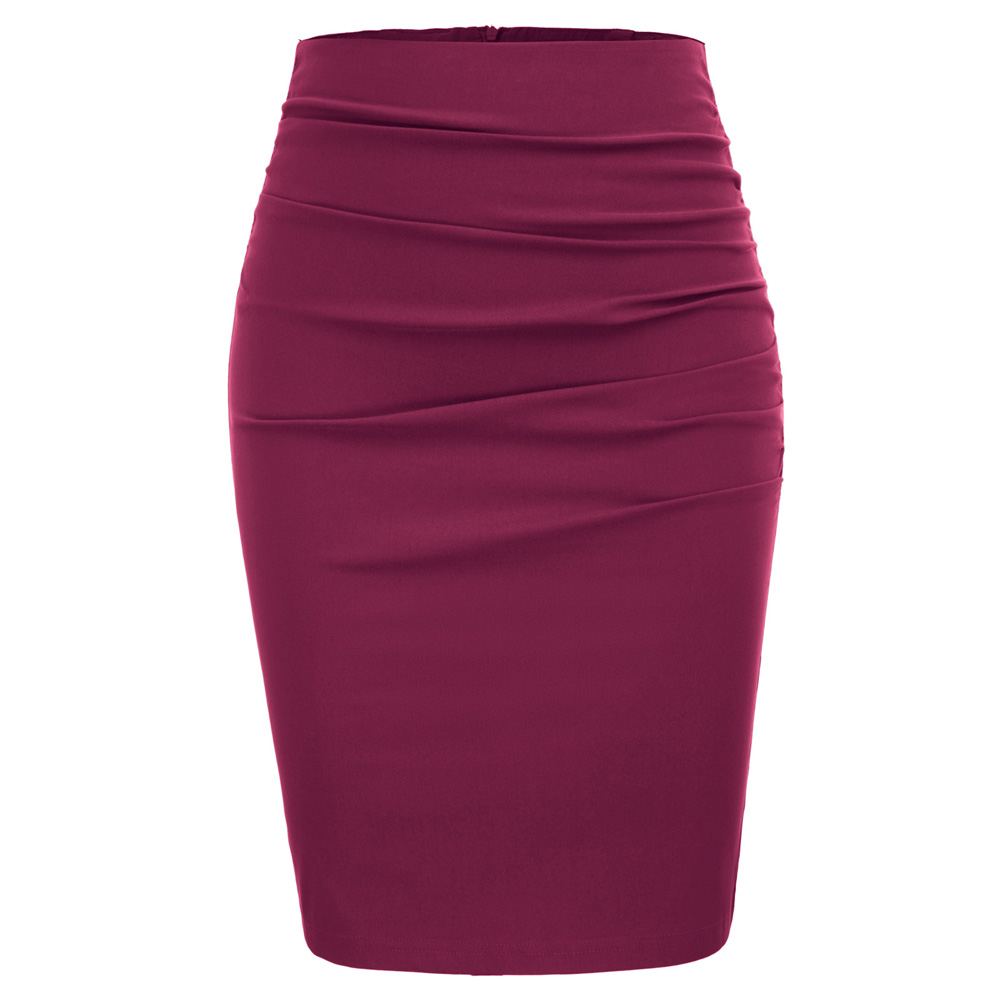 Women Fashion Work Skirts Vintage Solid Color Ruched Front Hips wrapped Bodycon Pencil Skirt Grey Color in Skirts from Women 39 s Clothing