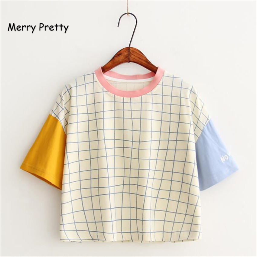 Merry Pretty New Summer Women Letter Embroidery Plaid t shirt Fesyen Patchwork Design T shirt Lengan Pendek Kasual Kapas Tops