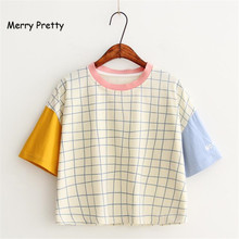 Merry Pretty New Summer Women Letter Embroidery Plaid t shirt Fashion Patchwork Design T shirts Short Sleeve Casual Cotton Tops