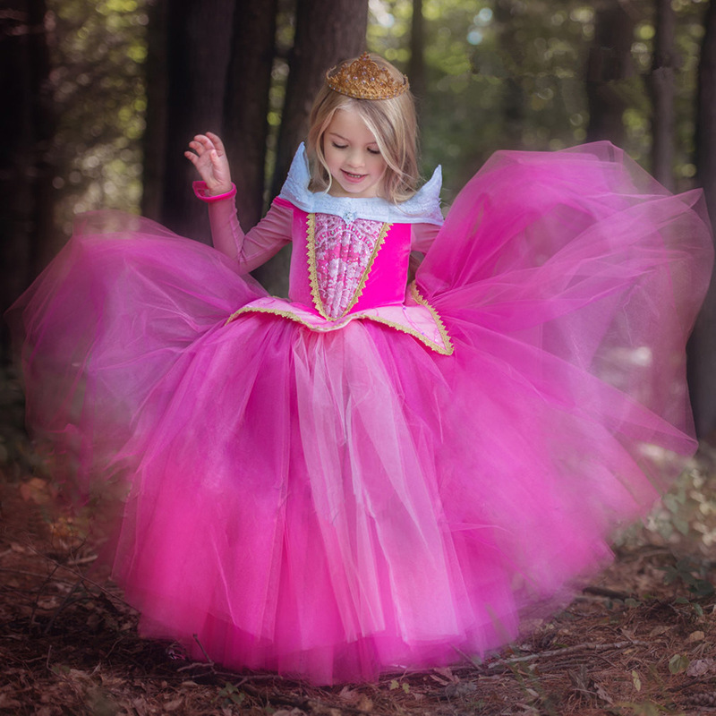 2016 New kids dress Girls Dresses for Baby Children Aurora Princess Dress Toddler Gowns girl party dress Free crown Wand