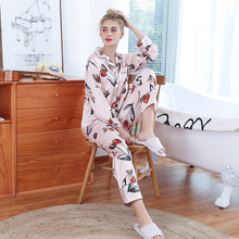 Tony&Candice Womens Pajamas Sexy Underwear Suit Silk Satin Two-piece Ladies Sleepwear Soft Pyjamas Long Sleeves