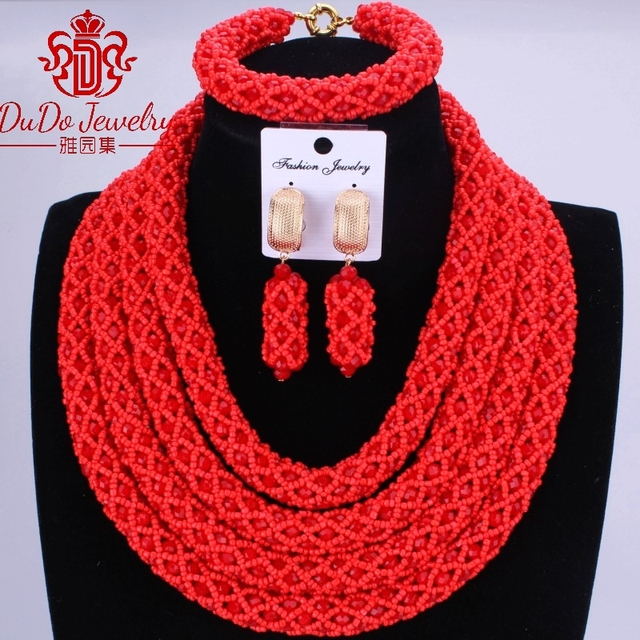 Hot Red Nigerian Wedding African Jewelry Sets 4 Layers Statement Necklace Set For Brides Party Bridal Chunky Jewelry Fashionable