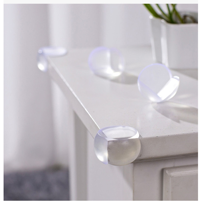 5pcs/lot Soft Clear Rubber Ball Glass Table Desk Edge Corner Guards,Baby Child Kids Silicone Corner Protector FREE GLUE
