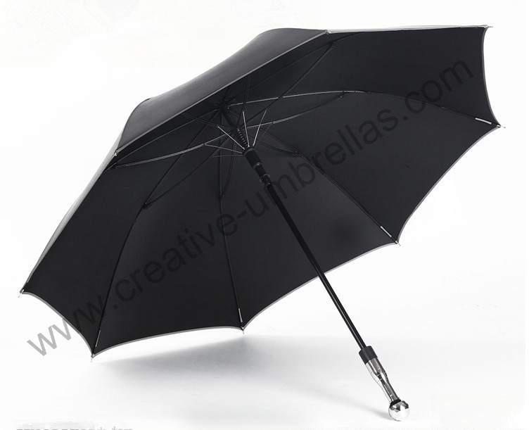 Self defense unbreakable golf umbrella carbon fiberglass shaft and ribs 210T Taiwan Formosa pongee black coating