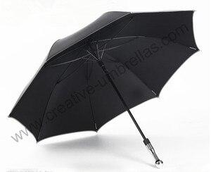Guarda-chuva inquebrável do golfe da auto-defesa, eixo e costelas da fibra de vidro do carbono, revestimento preto da pongee de formosa 210 t 5 vezes, anti-uv