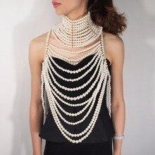MANILAI Collar con perlas de imitación para mujer, collares con colgantes multicapa, joyería de cadena corporal Sexy exagerada
