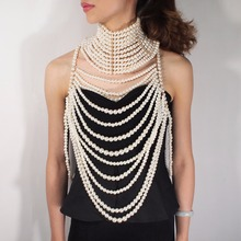 MANILAI Imitation Pearl Statement Collar Necklaces Multilayer Pendants Necklaces Women Exaggerate Sexy Body Chain Jewelry