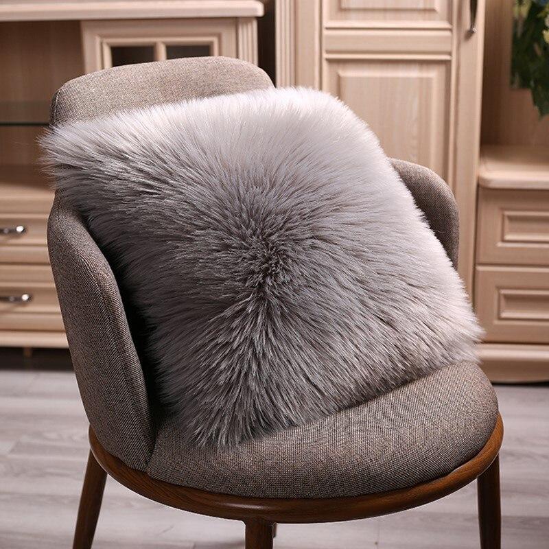 40/45/50cm High Quality European Plush Pillow Case Wool Cushion Cover Faux Fur Sofa Bed Pillowcase Cover Christmas Pillow Cover