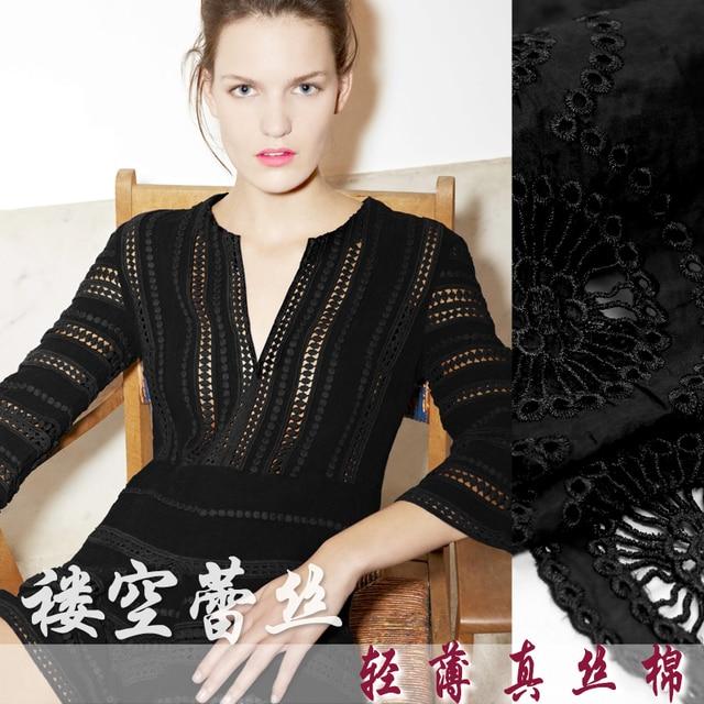7e388a22e3f 120 CM Large 10 MM Brodé Noir Soie Coton Tissu pour la Robe Chemise Jupe  Vêtements