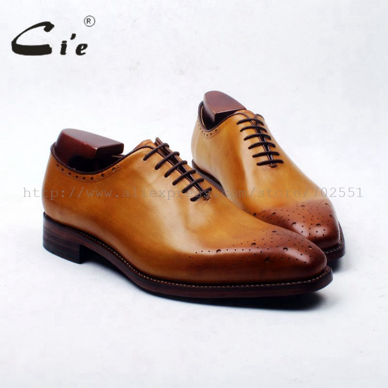 cie Whole Cut Bespoke Handmade Pure Genuine Calf Leather Upper Outsole Breathable Men's Flats Dress Oxford Brown Shoe No.OX169 obbilly bespoke handmade genuine calf leather upper outsole insole breathable brown cement craft round toe shoe no ox655