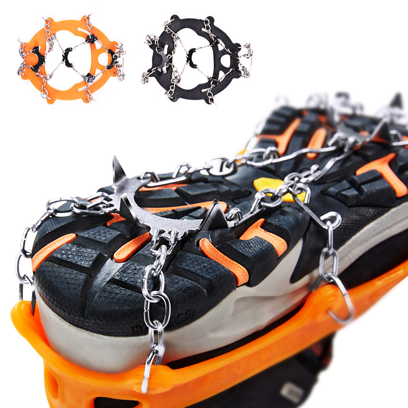 Non-slip Claws Ice Crampons 8 Teeth  Manganese Steel & Stainless Steel Gripper Ski Snow Cleats Hiking Climbing Shoes Chain Co