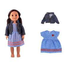 Clothes For Dolls 45cm Girl Doll Outfits 1 Jean Coat 1 Blue Stripes Summer Denim Dress Accessories Fit 18inch American Dolls(China)