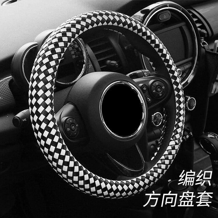 1 pièces faux cuir 3D tissé à la main housse de volant de voiture fournitures décoratives pour BMW mini countryman cooper