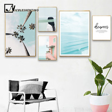 Nordic Ocean Beach Landscape Wall Art Poster Canvas Print Painting Scandinavian Decoration Picture Modern Living Room Decor