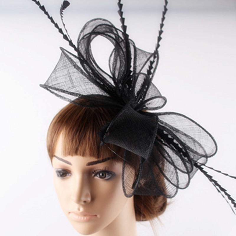 Free shipping Retail hair comb sinamay fascinator hats feather hair accessories wedding headwear 17 color are avaliable RMSF101 women s hats and fascinators vintage sinamay sagittate feather fascinator with headband tocados sombreros bodas free shipping