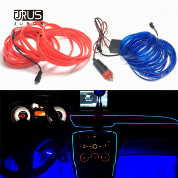 цена на JURUS 5Meter 10 Color Backlight For Car Ambient Light Interior Lighting Auto Led Strip El Wire 12V Cigarette Lighter Inverter