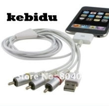 kebidu Dock Connector TV RCA Video Composite AV Cable + USB 2.0 for Apple for iPad  for iPhone for iPod Touch for Nano