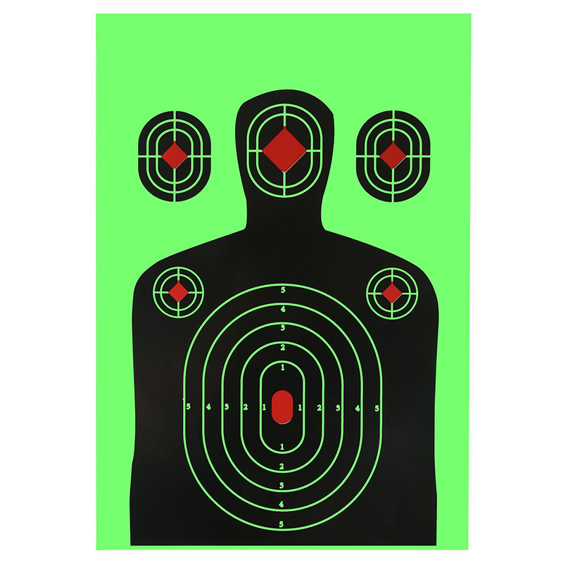 Shooting Targets 12x18 inch Silhouette Splatter Reactive Paper Targets Fluorescent Green Upon Impact Gun Rifle Pistol Airsoft