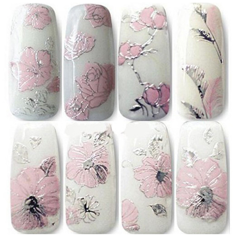 A 2017 stickers for nails Fashion gril 3D Embossed Pink Flowers Design Nail Art Decal Tips