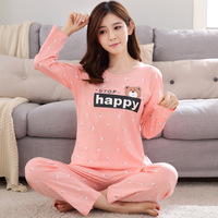 Spring Autumn Cotton Female Pajamas Cartoon Home Clothing Long Sleeved No Pilling No Deformation