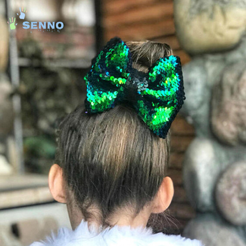Color Changing Reversible Sequins 5 Inch Cute Boutique Hair Pin Bows