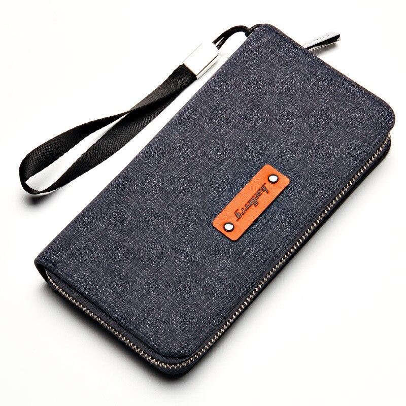 Baellerry 2019 Luxury Brand Korean Wallet Men Long Soft Canvas Wallets Male Zipper Purse Men Fashion Vintage Clutch Bag in Wallets from Luggage Bags