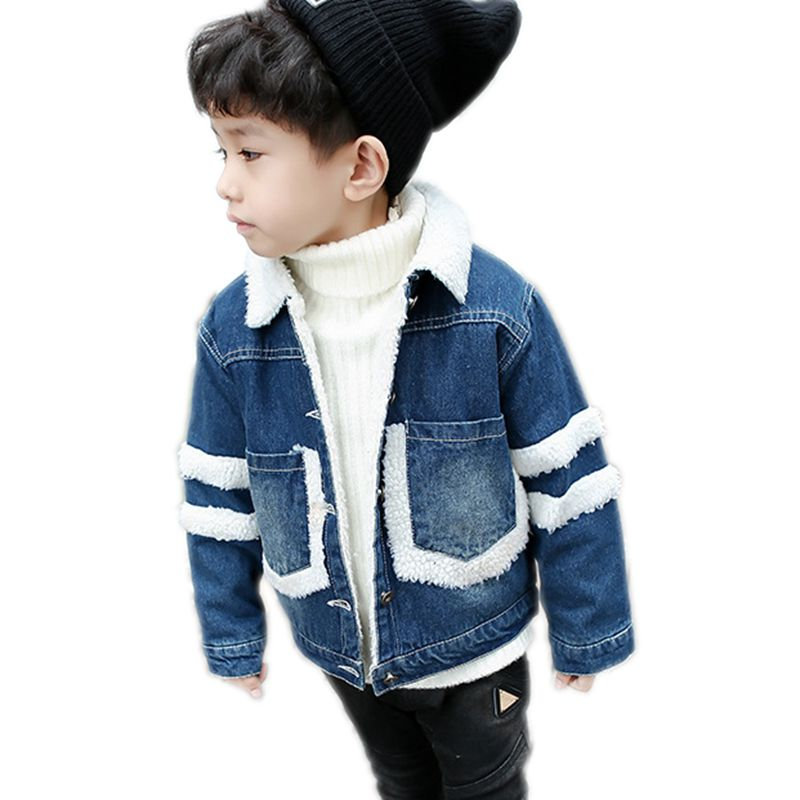 ba4acad84c9 Boys Winter Jacket Boy Jean Jacket Fashion Kids Coat Children Clothes Lamb  Wool Cowboy Cotton Denim Outerwear Children Clothing