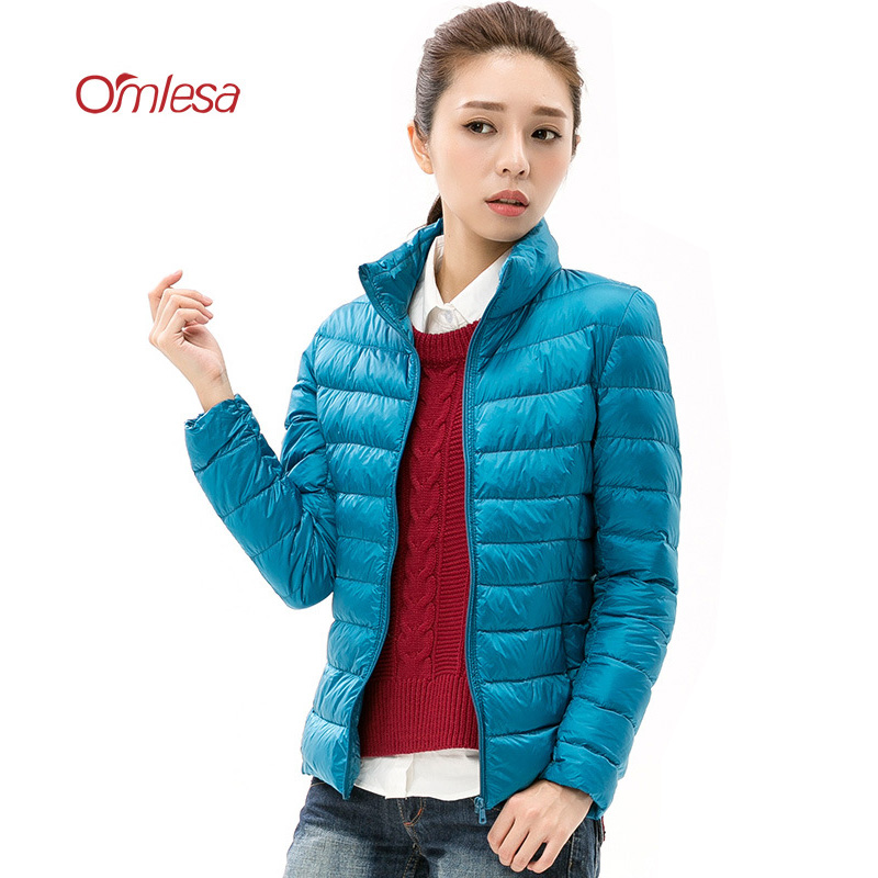 OMLESA Brand New Autumn Winter Jacket Stand Collar 90% White Duck   Down   Jackets Female 2017 Short Thin Light   Down     Coat   YR4066
