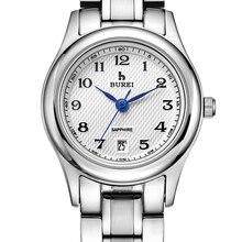 Буреи кварцевые часы Для женщин классический циферблат Дизайн полный Нержавеющаясталь японский механизм Платье календарь пары часы карнавал