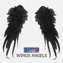 1 пара стильных вышитых крыльев Ангела, тканевые нашивки, украшения на плечо, Венеция, аппликация, сделай сам, костюм на Хэллоуин