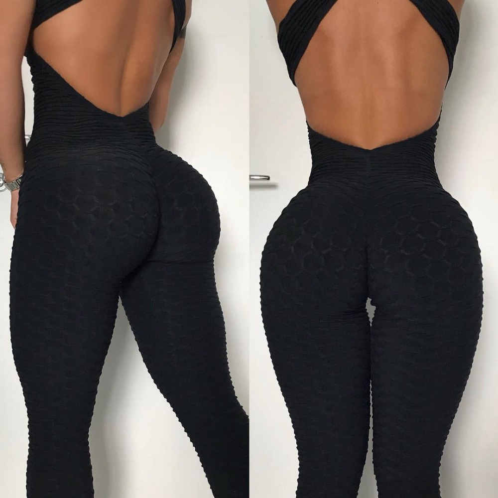 New Hotsales ! Women Fitness Textured Black Jumpsuit Backless Jacquard Thick Bodysuit Workout Padded Rompers