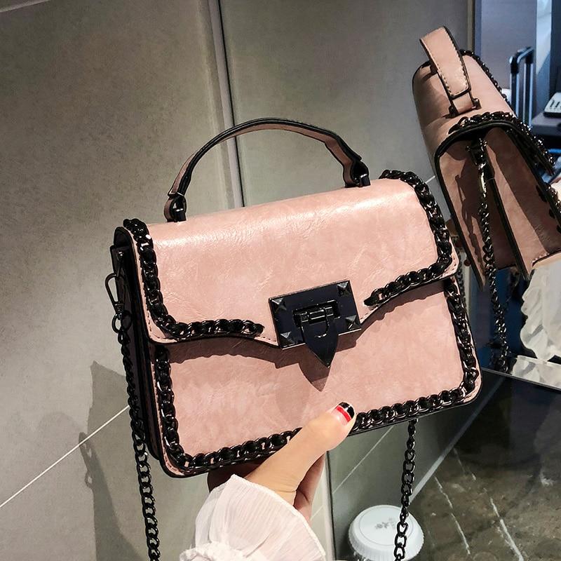 Retro Fashion Female Square Bag 2018 New Women's Designer Handbag Quality PU Leather Women Bag Chain Tote Shoulder Messenger Bag