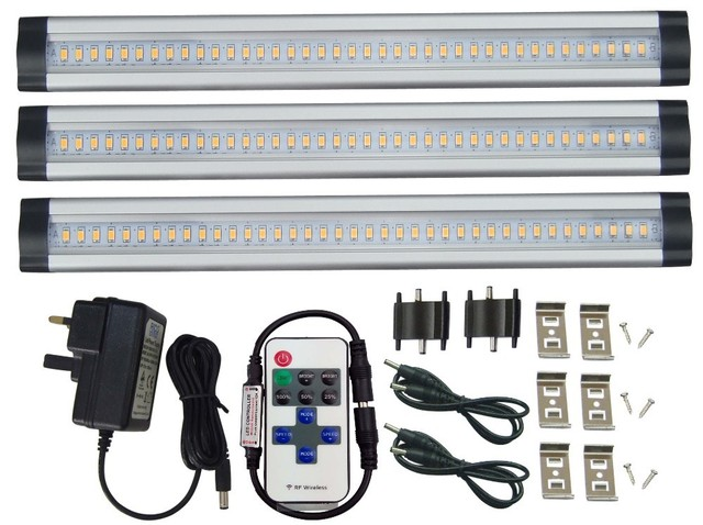3 Panels Daylight Dimmable Led Under Cabinet Lighting Rf Remote Control Milk
