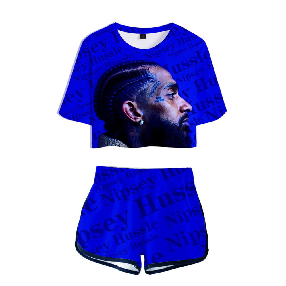 Women Outfits Nipsey Hussle Hip Hop 2 Piece Set Women Summer T Shirt Two Piece Short