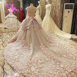 Image 1 - فستان AIJINGYU Isreal للإناث في حفلة القطار الطويل 2021 2020 أبيض جميل فساتين زفاف للعرائس الأكبر سنا