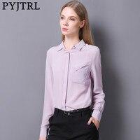 PYJTRL 2017 Autumn New 100 Real Silkworm Silk Women Fashion Casual Shirt Outfit Violet Long Sleeve