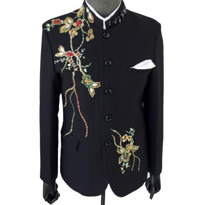 Costumes Vêtements Veste Punk Chanteurs Masculino Robe Noir Montant Pour Col Conceptions Hommes Les Terno Blazer De Homme Scène Paillettes O5Ftxnq