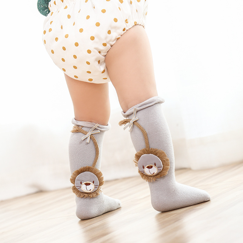 5 Pairs Baby Kids Spring Autumn Warm Lace Stocking Knit Knee High Cotton Socks