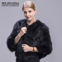 Ms.MinShu Black Fox Fur Coat Winter Fluffy Thick Fur Jacket For women Genuine Fox Fur Outerwear Girl Short Dyed Color