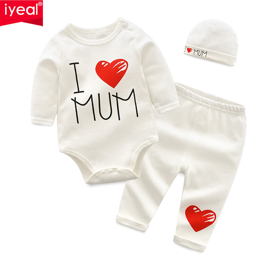 IYEAL Newborn Baby Boys Clothes Set 2018 New Fashion Baby Girl Clothing Outfit Cotton Long Sleeve Romper + Pant + Hat 3PCS/Set 3pcs newborn baby girl clothes set long sleeve letter print cotton romper bodysuit floral long pant headband outfit bebek giyim