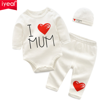 IYEAL Newborn Baby Boys Clothes Set 2020 New Fashion Baby Girl Clothing Outfit Cotton Long Sleeve Romper + Pant + Hat 3PCS/Set levi s baby boys newborn coulter pant