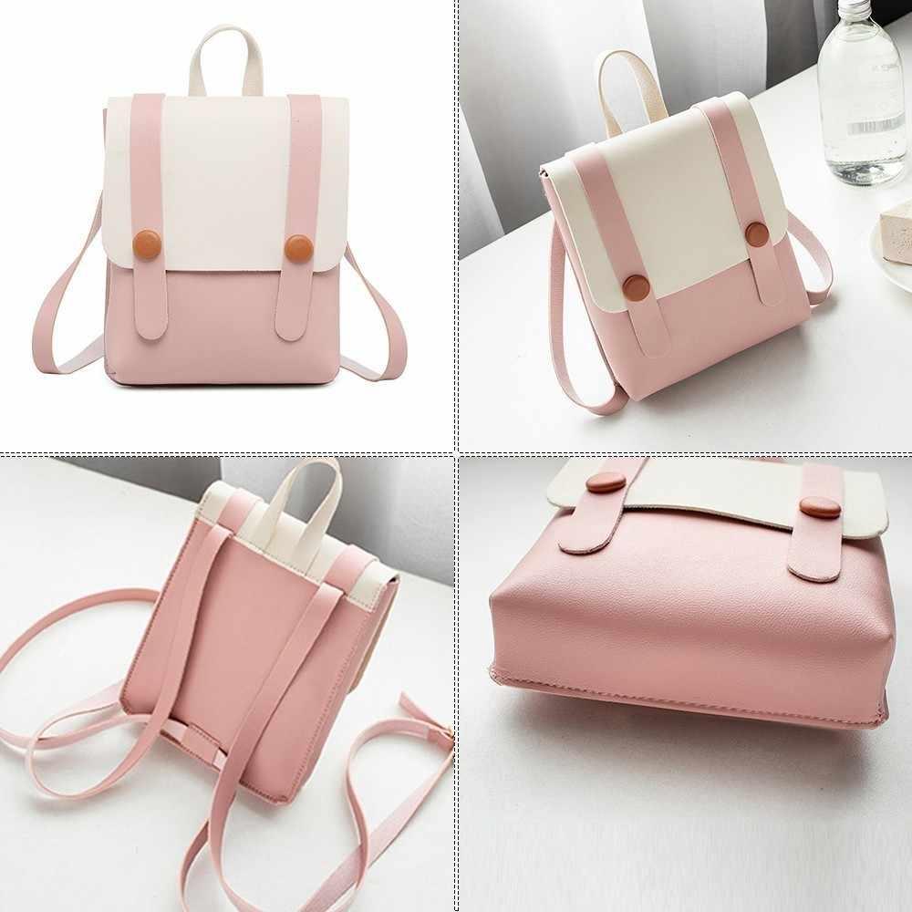 Herald Fashion Wanita Ransel Kulit Multi-Fungsi Kecil Permen Warna Tas Sekolah untuk Anak Perempuan Mini Tas Bahu untuk Wanita Bagpack