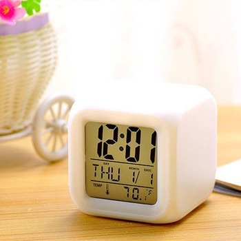 LED Alarm Colock 7 Colors Changing Digital Desk Gadget Digital Alarm Thermometer Night Glowing Cube led