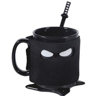 Creative Ninja Mug Black Mask Ceramic Cup With Spoon Sword Coffee Milk Tea Mugs Novelty Gifts