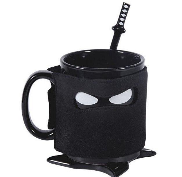 Creative Ninja Tasse Noir Masque Tasse En Céramique Avec Cuillère Épée Café Thé Au Lait Tasses Nouveauté Cadeaux