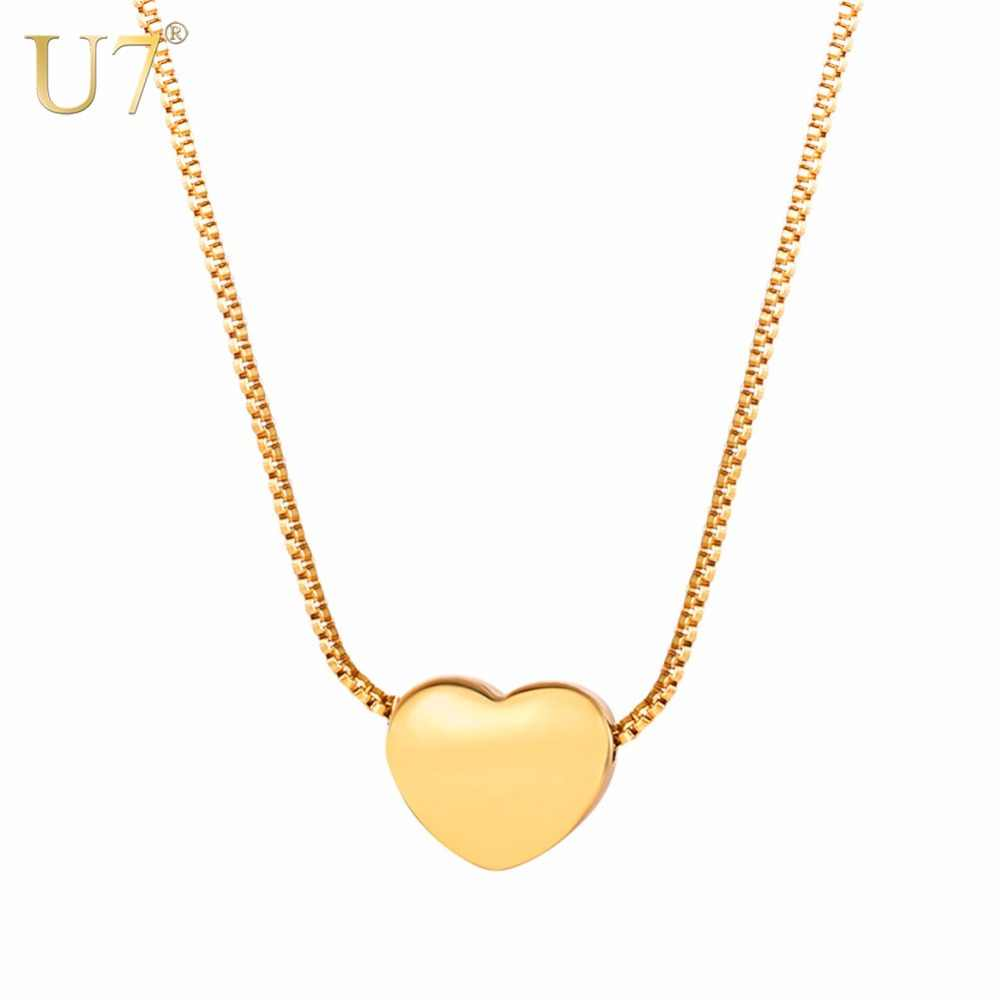 U7 Necklace Stainless Steel Tiny Heart Pendant & Box Chain Bridesmaid/Mother's Day Gift Customized Women Jewelry Necklaces P1132