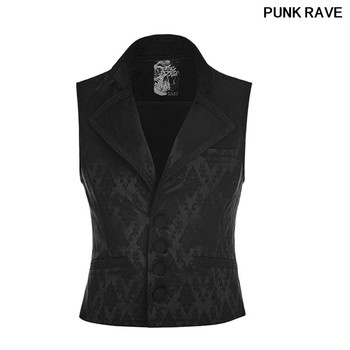 Gothic Retro Triangle Collar Pocket Party black Vest Gentleman Slim Button Jacquard Printing Men Waistcoat PUNK RAVE WY-851MJM