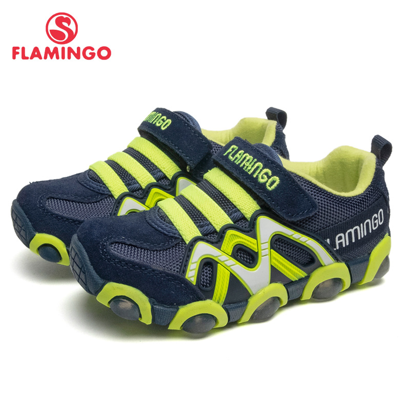 FLAMINGO Brand Leather Insoles LED Spring& Summer Children Walking Shoes Size 24-30 Kids Sneaker  91K-SM-1241/ 91K-SM-1242 bonjomarisa new brand plus size 33 40 cow leather flower woman shoes high heel women shoes black office summer sandals